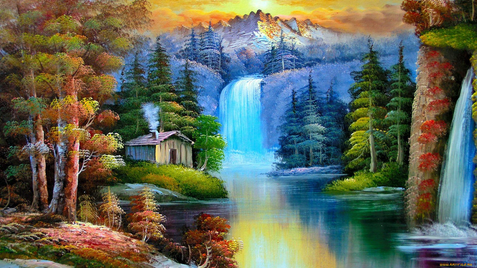 Как нарисовать водопад использованием холст акрил
